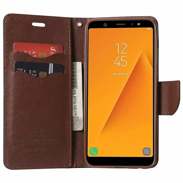 Royal Star Full Protection Fancy Diary Card Wallet Stand View Flip Case Back Cover for Samsung Galaxy J8 (2018 Launch) (Black Brown) 4