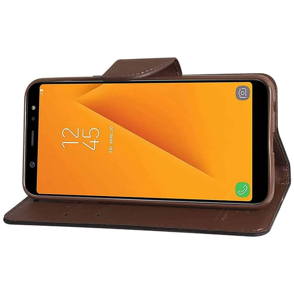 Royal Star Full Protection Fancy Diary Card Wallet Stand View Flip Case Back Cover for Samsung Galaxy J8 (2018 Launch) (Black Brown) 5