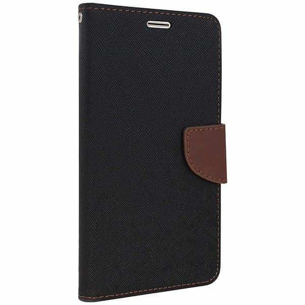 Royal Star Full Protection Fancy Diary Card Wallet Stand View Flip Case Back Cover for (Vivo Y21, Black Brown) 1