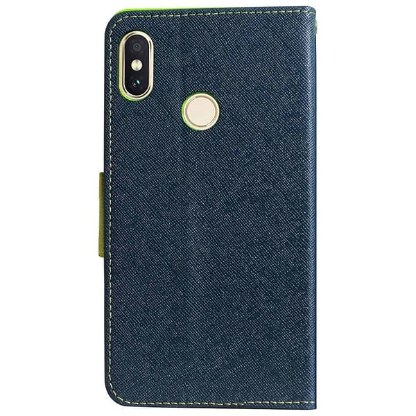Royal Star Full Protection Fancy Diary Card Wallet Stand View Flip Case Back Cover for Xiaomi Mi A2 (Blue) 3