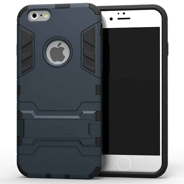 Royal Star Graphic Kickstand Hard Dual Rugged Armor Hybrid Bumper Back Cover Case for (Apple iPhone 6 / 6S, Navy Black) 1