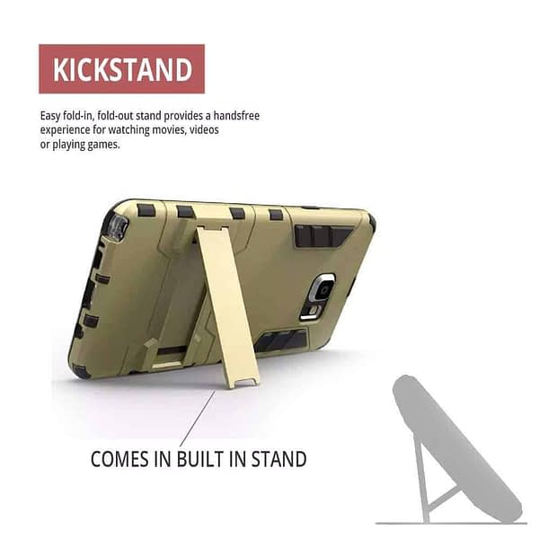 Royal Star Graphic Kickstand Hard Dual Rugged Armor Hybrid Bumper Back Cover Case for (Samsung Galaxy S6 Edge Plus, Gold) 5