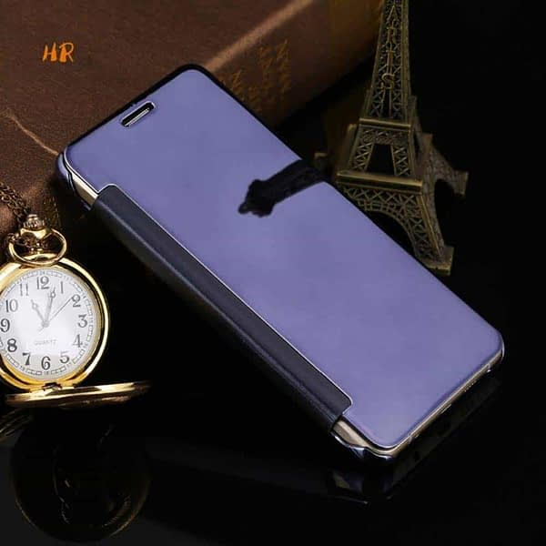 Royal Star Luxury Clear View Mirror Flip Cover Back Case for (Apple iPhone 5 / 5S / SE, Dark Blue) 6