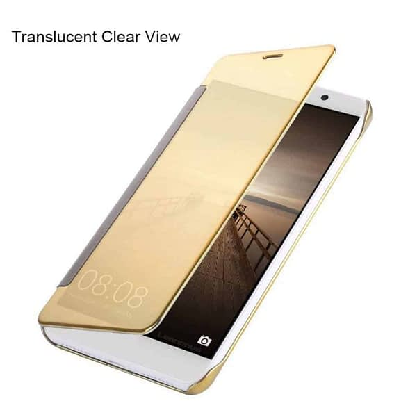 Royal Star Luxury Clear View Mirror Flip Smart Cover Case for (Samsung Galaxy A7 (6) (2016 Model, Gold) 6