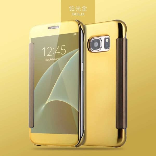 Royal Star Luxury Clear View Mirror Flip Smart Cover Case for Samsung Galaxy S7 Edge (Gold) 3