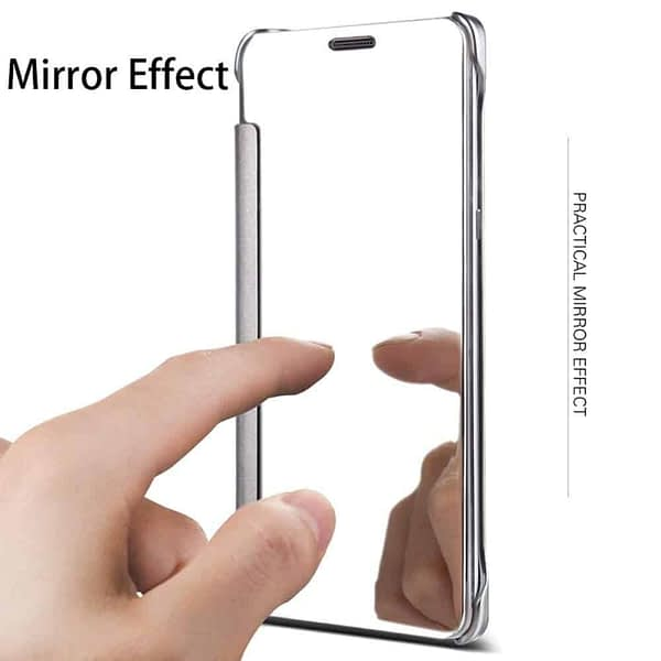 Royal Star Luxury Smart Clear View Mirror Flip Cover Back Case for (Samsung Galaxy Note Fan Edition (FE), Silver) 3