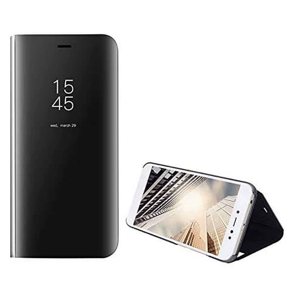 Royal Star Luxury Smart Semi Clear View Electroplate Plating Mirror Acrylic Full Body Protective (Inner Soft TPU) Stand Flip Back Case Cover for (Oppo F9 / F9 Pro, Black) 1