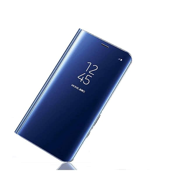 Royal Star Luxury Smart Semi Clear View Electroplate Plating Mirror Acrylic Full Body Protective (Inner Soft TPU) Stand Flip Back Case Cover for (Samsung Galaxy S9 Plus, Blue) 1