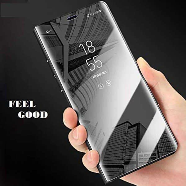 Royal Star Luxury Smart Semi Clear View Electroplate Plating Mirror Acrylic Full Body Protective Standing Flip Back Case Cover for 4