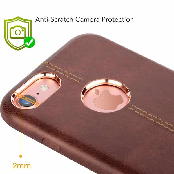 Vorson Pu Leather Case Shock Resistance Protective Back Cover Case for (Apple iPhone 7 (Vorson Back Cover), Brown) 3
