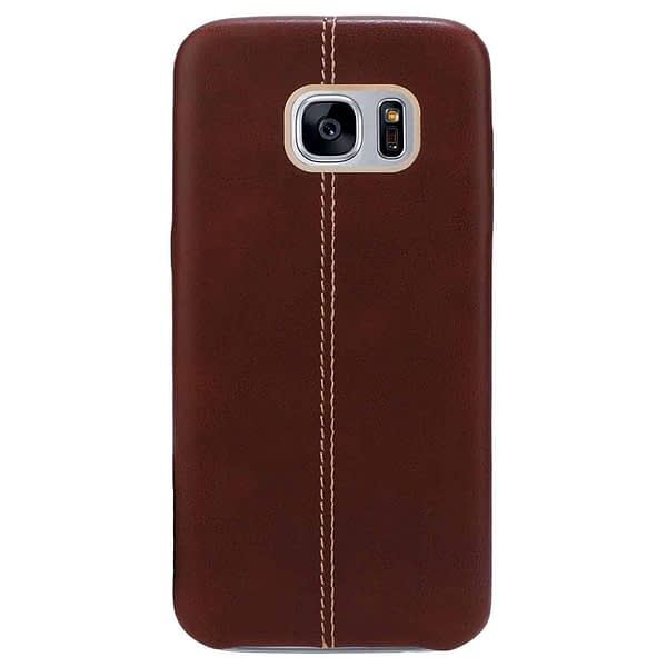 Vorson Pu Leather Case Shock Resistance Protective Back Cover Case for (Samsung Galaxy S7 Edge (Vorson Back Cover), Brown) 1