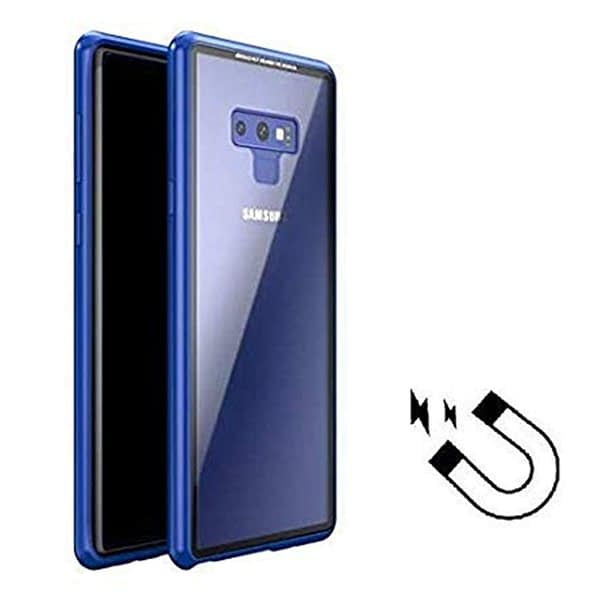 Royal Star Luxury Slim Magnetic Flip with Metal Frame & Back Side Transparent Tempered Glass Back, Built-in Powerful Magnet Flip Back Cover Case for (Samsung Galaxy Note 9, Blue) 1