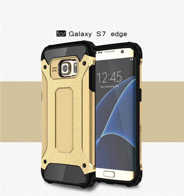 Royal Star Dual Layer Armor Neo-Hybrid Shock-Proof Back Case Cover for (Samsung Galaxy S7 Edge, Gold) 3
