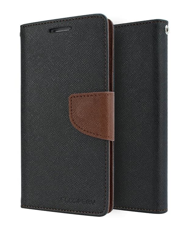 DW Mercury Fancy Diary CARD Wallet Flip Case Back Cover for Samsung Galaxy A7 ( Black+Brown ) 1