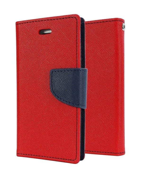 J.N. Mercury Fancy Diary Card Wallet Flip Case Back Cover For Micromax Canvas 2 A110 - Red 1