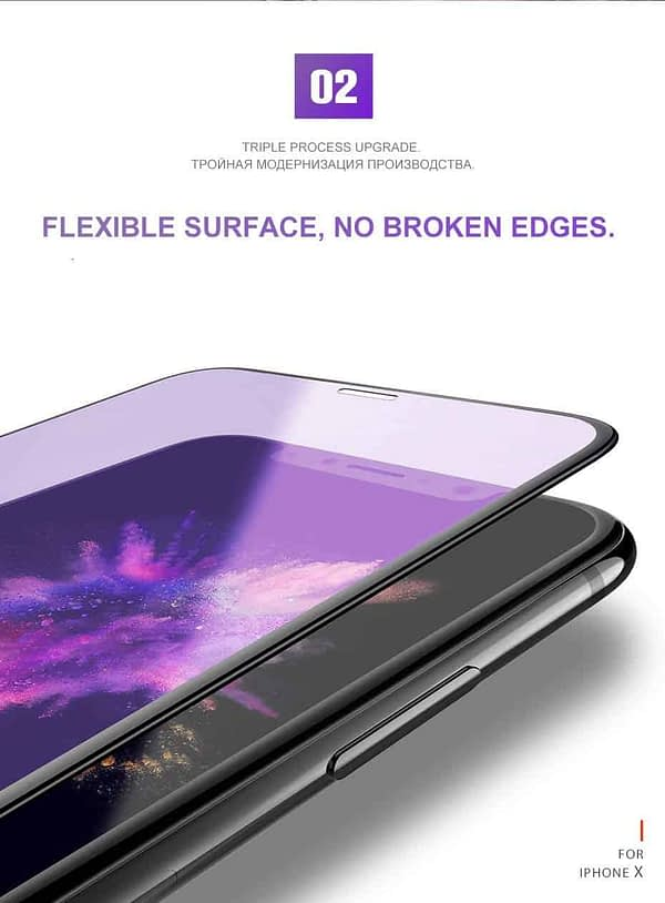 "Royal Star 6D Curved Anti-Blue Ray 9H Full Screen Coverage Screen Tempered Glass Protector Guard for (Apple iPhone X/iPhone Xs (5.8""), Black) 4"