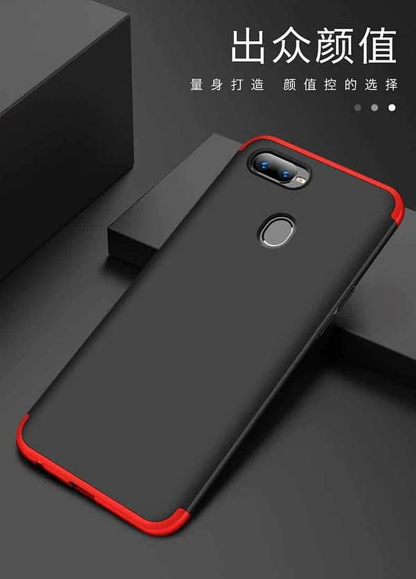 Royal Star 3 in 1 Luxury Design Full Body Protection Hybrid Matte Finish Hard Bumper Back Cover Case (Oppo F9 Pro, Black & Red (3 in 1)) 7