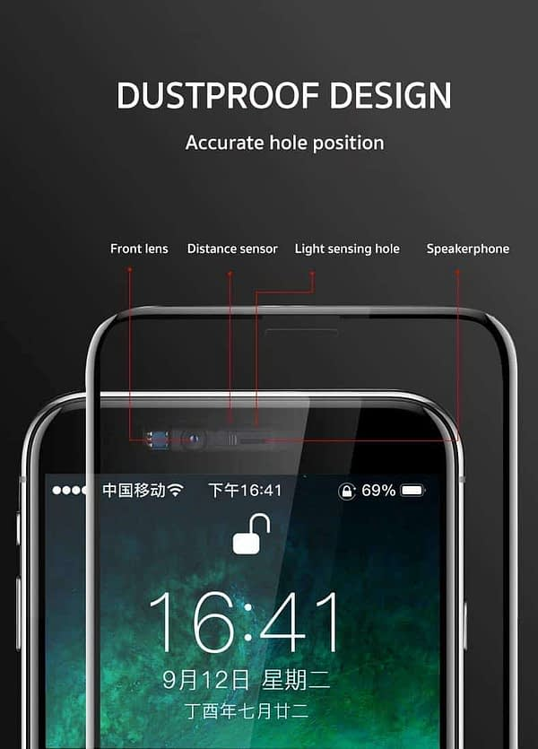 """Royal Star 9D Curved (Zero Feel 0.18mm) (Ultra Thin) 9H Full Coverage Screen Tempered Glass Protector Guard for (Apple iPhone X/Apple iPhone Xs (5.8""""), Black) 4"""