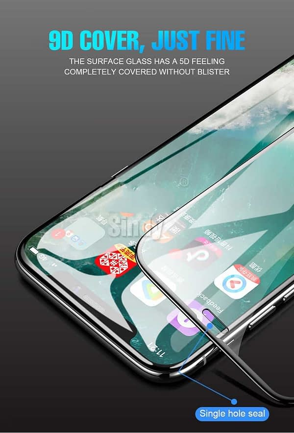 "Royal Star 9D Curved 9H Full Screen Coverage Tempered Glass Protector Guard for Apple iPhone X / 10 / Apple iPhone Xs (5.8"") (Black) 8"
