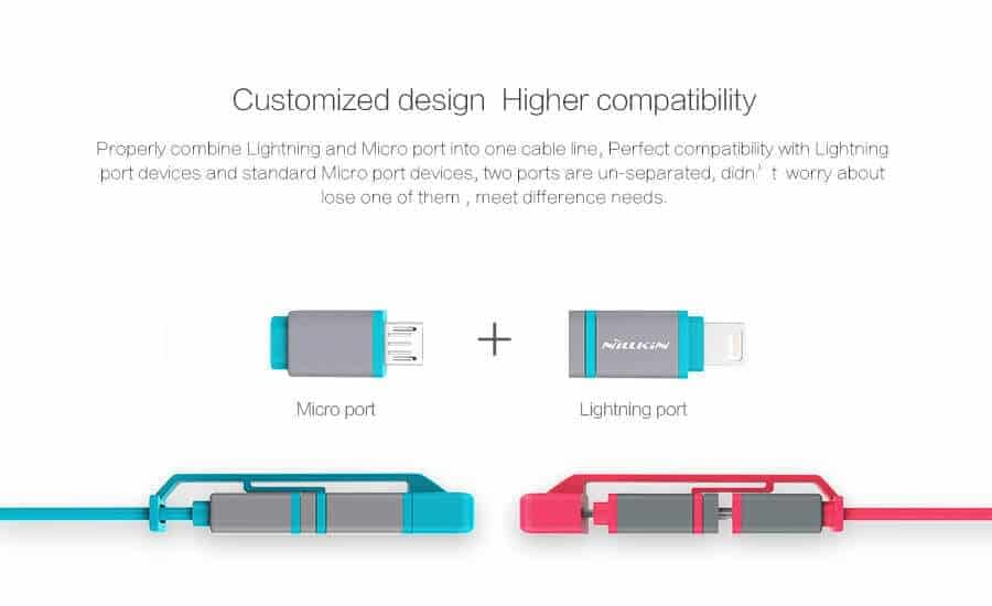 Nillkin Plus Ⅱ Cable 2 in 1 Lightning & Micro USB 2.1A, 1.2M Charging and data Transmission Cable 4